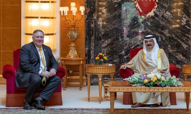 US State Secretary Mike Pompeo meets with Bahrain King Hamad bin Isa Al Khalifa during his visit to Manama on August 26. — Reuters