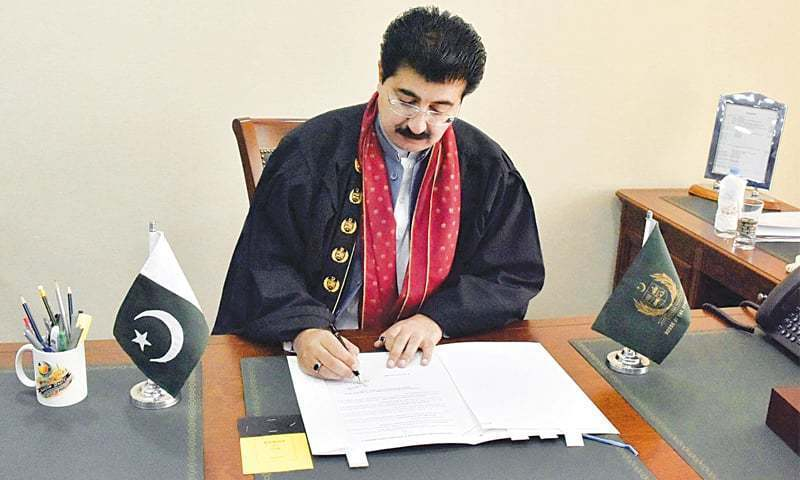 Sanjrani said unfortunately the spirit of devolution of his discretionary power to the house was misunderstood and an untoward situation between the treasury and opposition benches was created. — Online/File