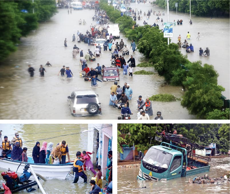 (CLOCKWISE from top) People wade through rainwater accumulated on an arterial road in Karachi. A dumper truck carrying electricity workers stuck in a residential area. A Pakistan Army relief team rescuing a family during flood relief operations in Mehar Ali Shah Colony in Hyderabad. — White Star/ APP
