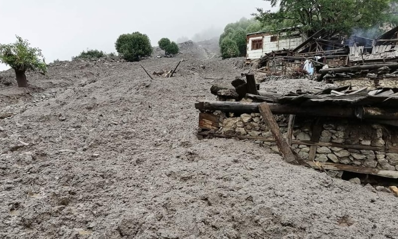 This picture shows the devastation in Sazeen, Kohistan due to the flash floods. — Photo courtesy Umar Bacha