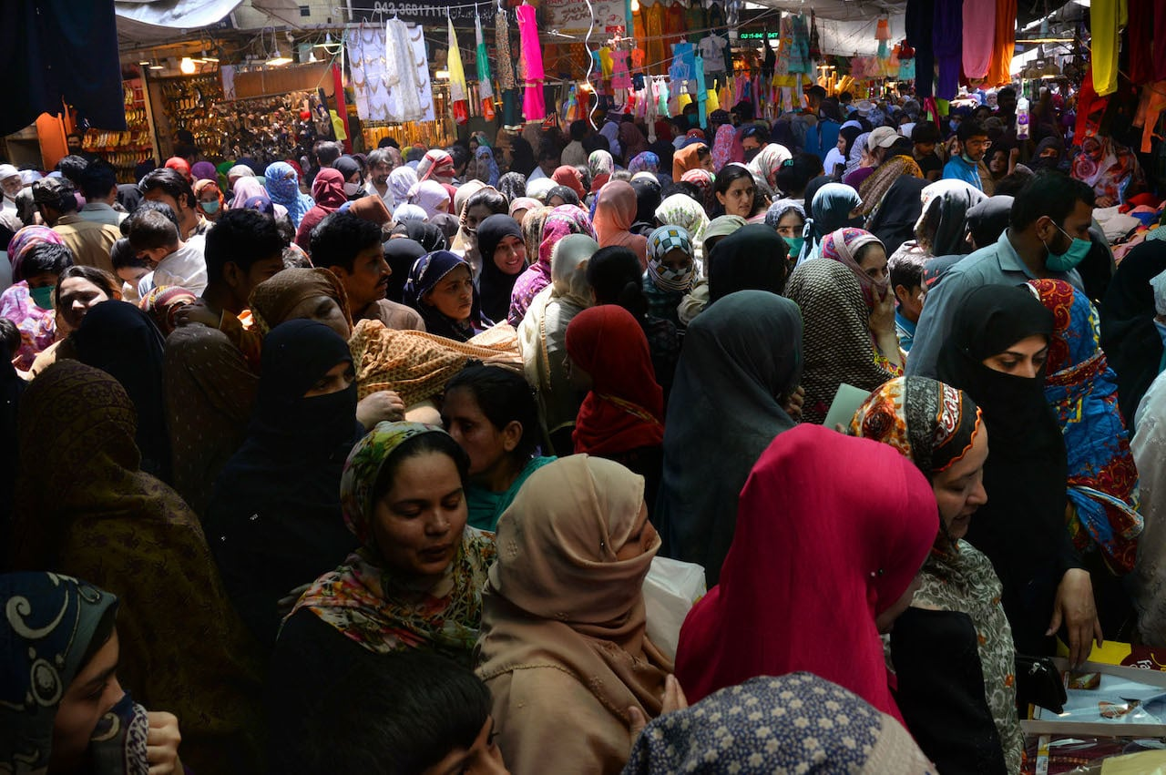A market is full of shoppers ahead of Eid, most customers can be seen without masks and social distance is not being maintained | Arif Ali/White Star