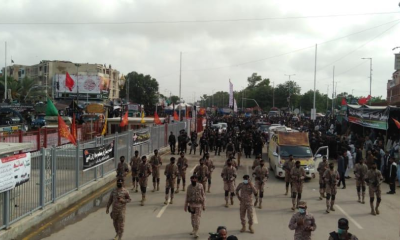 Rangers officials are seen in front of a Muharram procession in Karachi. — Photo courtesy Rangers