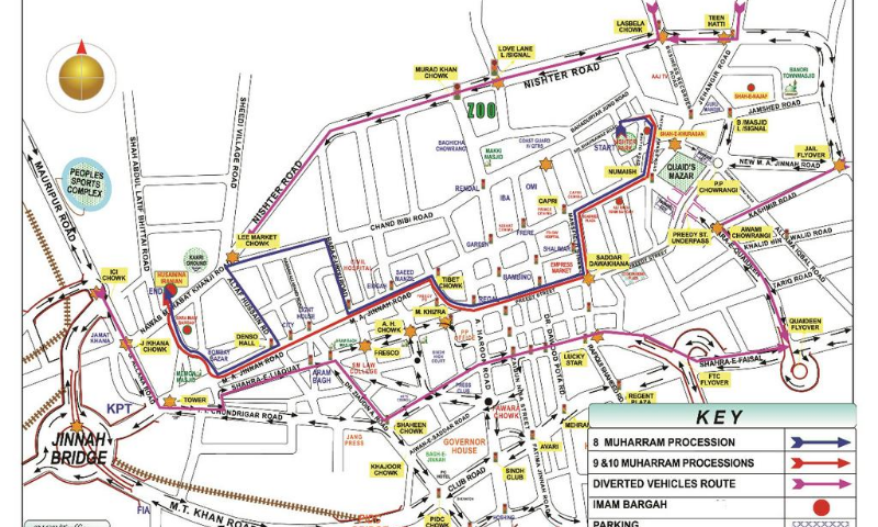 Map of the route the procession took. — Photo Courtesy: Karachi Police