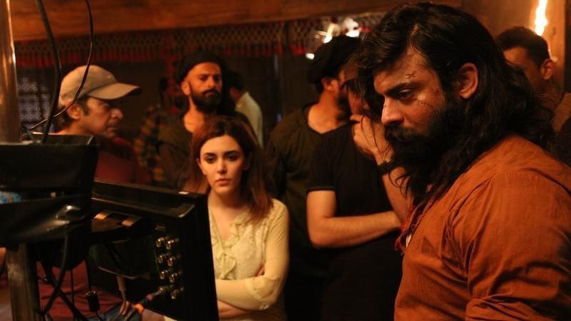 Ammara Hikmat on the set of The Legend of Maula Jatt