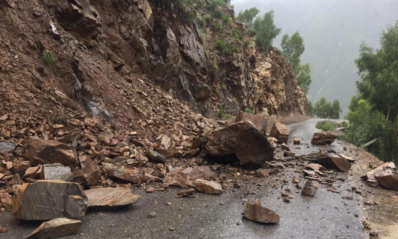 Landsliding on the  Khatak Sar road in KP.