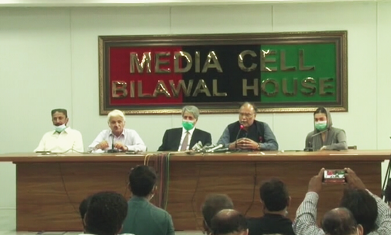 PPP and PML-N leaders address press conference in Karachi.  — DawnNewsTV