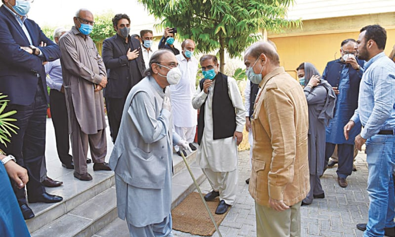 THIS photo released by the PML-N shows PPP leader Asif Ali Zardari welcoming PML-N president Shahbaz Sharif on his arrival at Bilawal House.