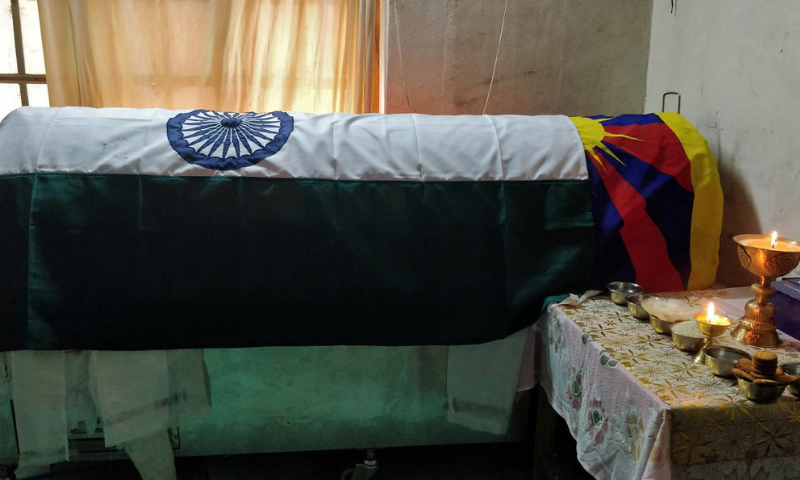 A coffin containing the body of Tenzin Nyima, a senior rank Tibetan official from India's Special Frontier Force, is pictured at his residence in Leh, Sept 1, 2020. — Reuters