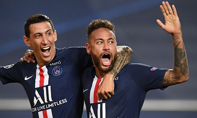 In this August 18, 2020, file photo Paris Saint-Germain's Argentine midfielder Angel Di Maria (L) celebrates with teammate Brazilian forward Neymar after scoring their team's second goal during the UEFA Champions League semi-final football match between Leipzig and Paris Saint-Germain at the Luz stadium in Lisbon. — AFP