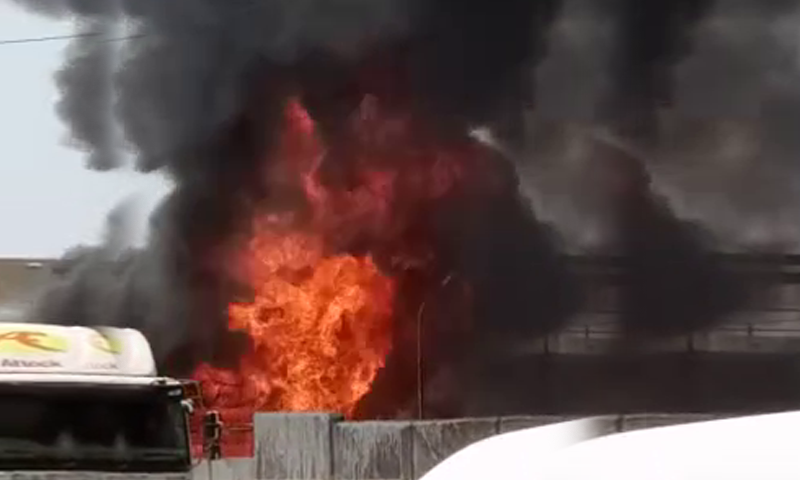 The blaze erupted in the Shell Oil Depot at Keamari Terminal-1. — DawnNewsTV