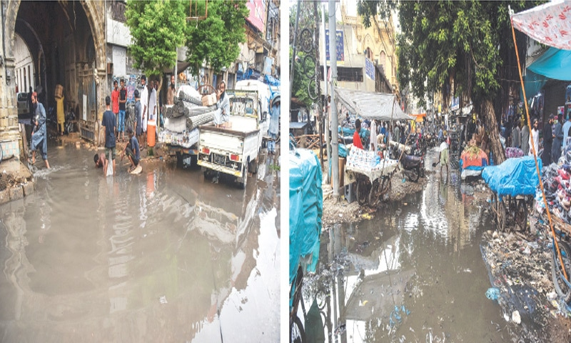 Sewage inundates a section of M.A. Jinnah Road, Denso Hall (right) and North Nazimabad's Hyderi Market (below) on Friday.—Fahim Siddiqi/White Star