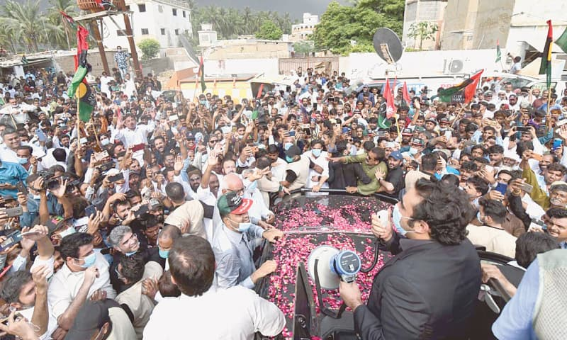 PAKISTAN Peoples Party chairman Bilawal Bhutto-Zardari pictured while visiting rain-affected areas in Malir district.—PPI