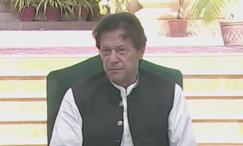 Prime Minister Imran Khan addressing a press conference in Karachi on Saturday. — DawnNewsTV