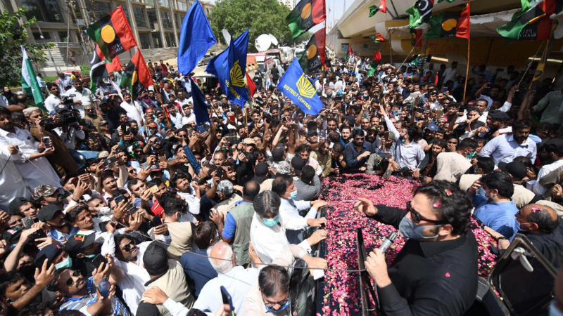 """The PPP chief, for a second consecutive day, visited different parts of the metropolis — this time North Nazimabad's KDA Chowrangi and Surjani Town's Yousuf Goth — to assure the rain-hit people that the Sindh government """"is with them"""". — Photo by Imtiaz Ali"""