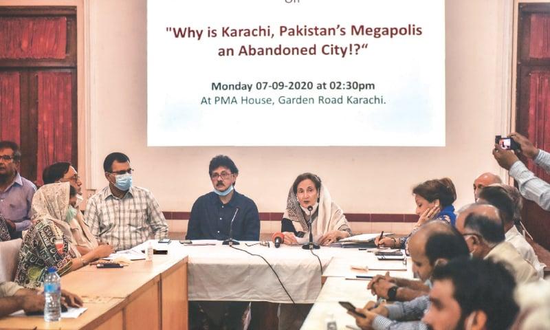KCF convener Nargis Rehman addresses the meeting at PMA House on Monday.—White Star