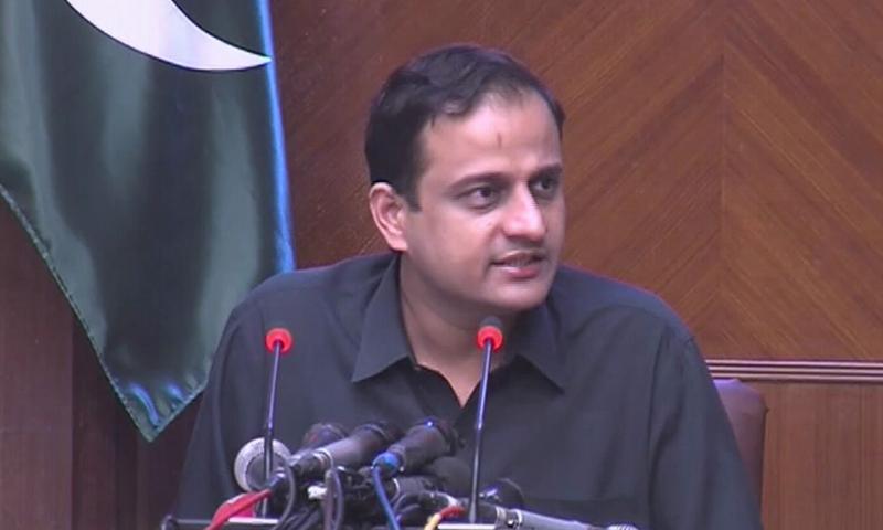 سندھ حکومت کے ترجمان مرتضیٰ وہاب کراچی میں پریس کانفرنس کر رہے تھے — فوٹو:ڈان نیوز