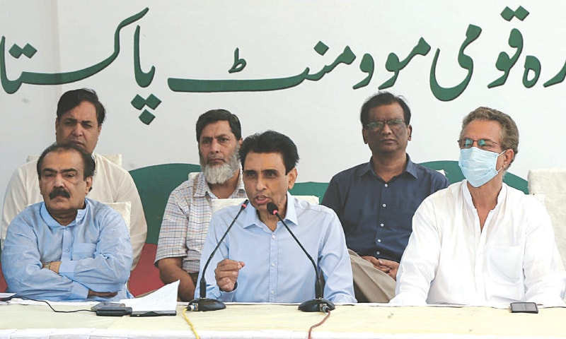 KHALID Maqbool Siddiqui speaks at the presser on Tuesday.—PPI