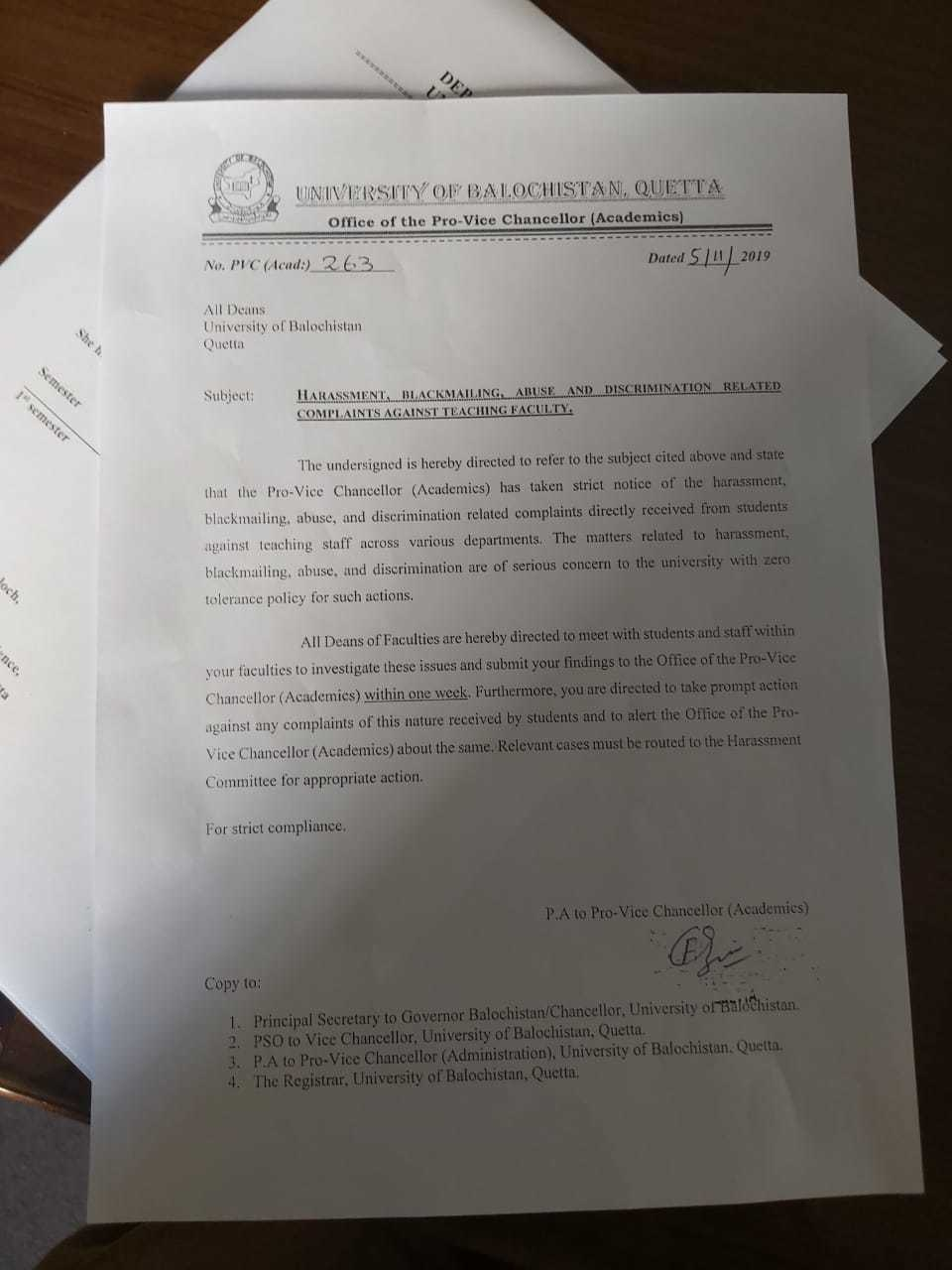 Copy of a letter from the pro-vice chancellor's office to department deans to take action against faculty members allegedly involved in harassment, blackmail and sexual abuse of students.