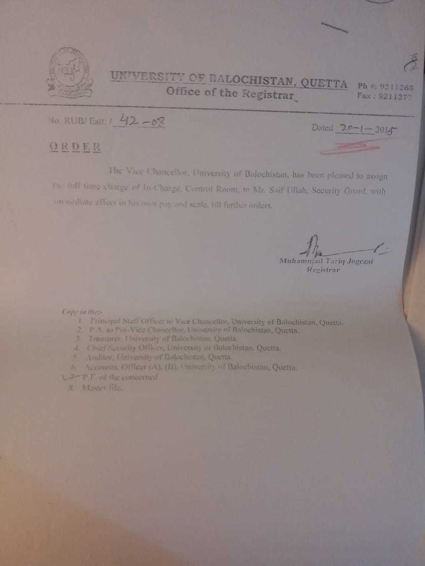"Notification about the appointment of Saif Baloch as ""In-charge, Control Room"" despite the BHC, according to sources, ordering him to be demoted to BPS-4."