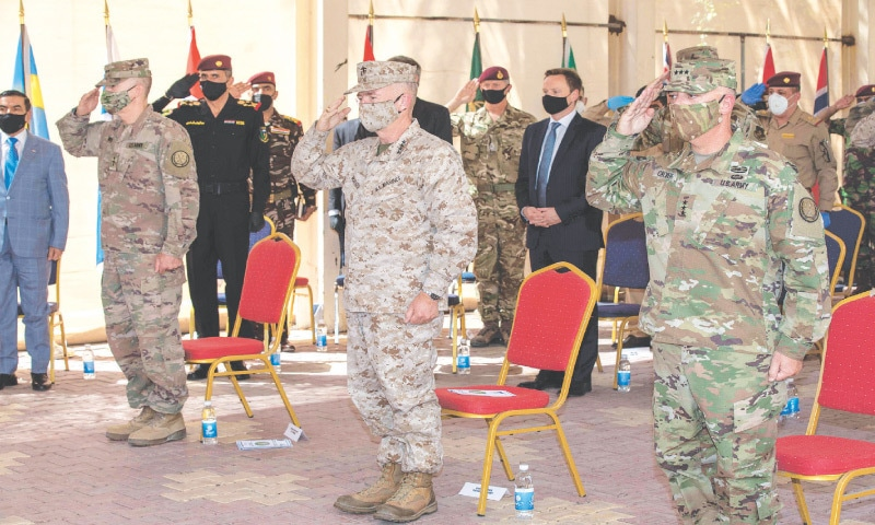 Baghdad: This picture released by the US Defence Department shows a unit deployed to Syria and Iraq to fight the militant Islamic State group swapping leaders during a change of command ceremony on Wednesday. — AFP
