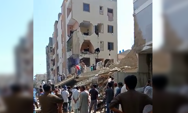 Several people are feared trapped beneath the rubble, according to eyewitnesses. — DawnNewsTV