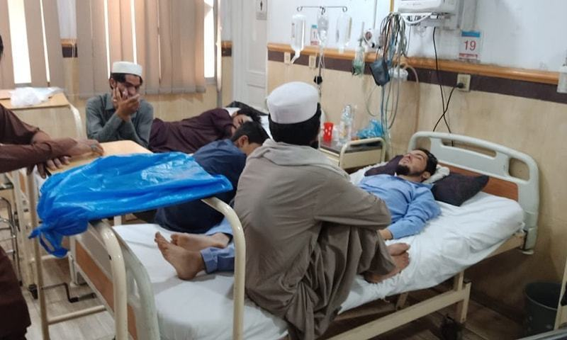 Presently, Khyber Teaching Hospital has a total of nine Covid-19 patients including two on ventilators.  — Photo courtesy Sirajuddin/File