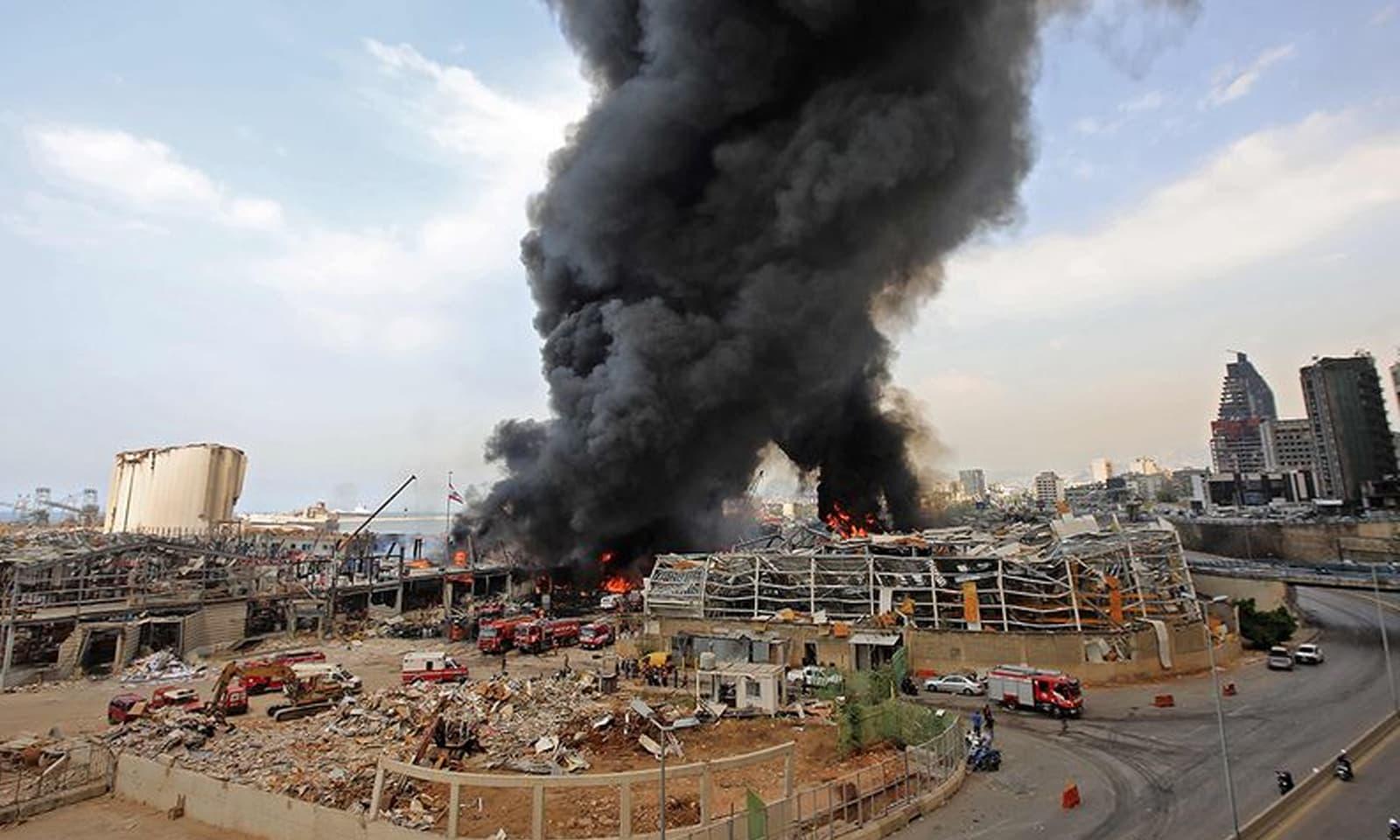 اس سے قبل بیروت میں 4 اگست کو ہولناک دھماکا ہوا تھا —فوٹو:اے ایف پی