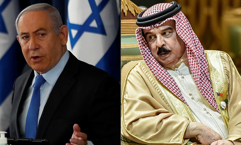 بحرین کے بادشاہ حماد بن عیسیٰ الخلیفہ ،اسرائیلی وزیر اعظم بینجمن نیتن یاہو اور ڈونلڈ ٹرمپ نے اس نئی پیشرفت کے اعلان سے قبل جمعہ کو بات کی تھی— فائل فوٹو: اے ایف پی
