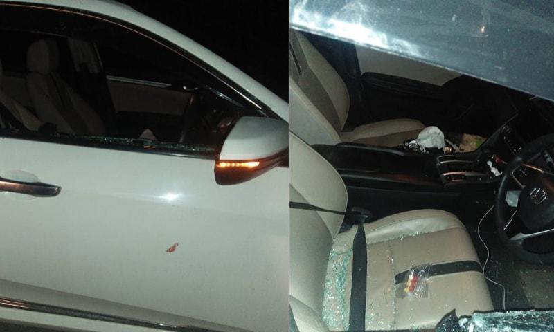 حملہ آوروں نے مبینہ طور پر گاڑی کا شیشہ بھی توڑا تھا—فوٹو: شہباز گل ٹوئٹر