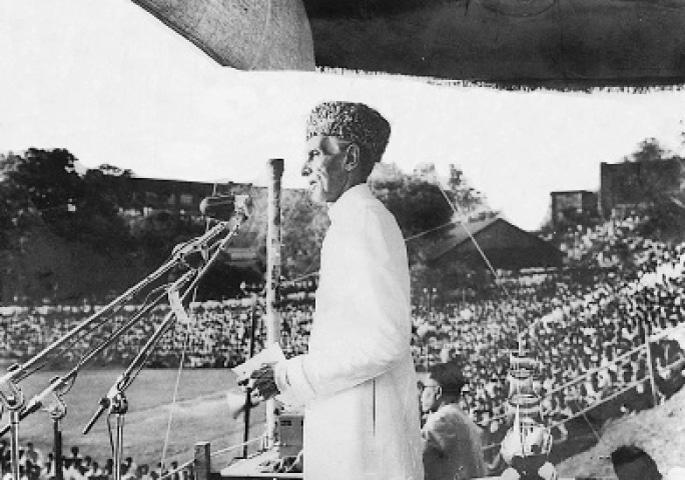 Jinnah addressing a massive rally.