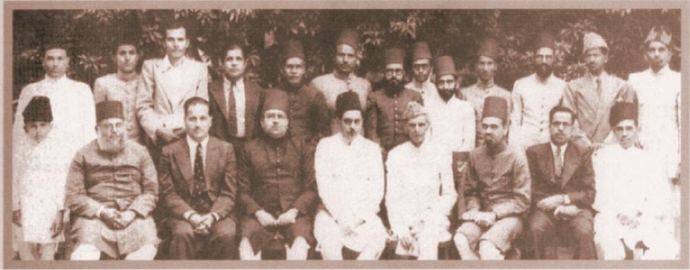 Jinnah with a group of Muslim League leaders.