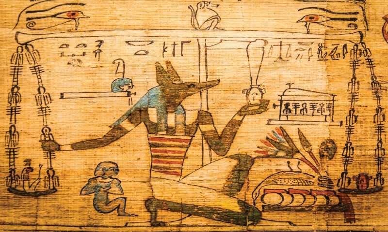 A detail from the Book of the Dead; this tome — that describes the ancient Egyptians' deep and meaningful obsession with the afterlife — plays into the plot of Rajia Hassib's novel