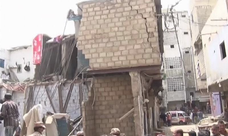 A view of the area where the building collapsed on Sunday. — DawnNewsTV