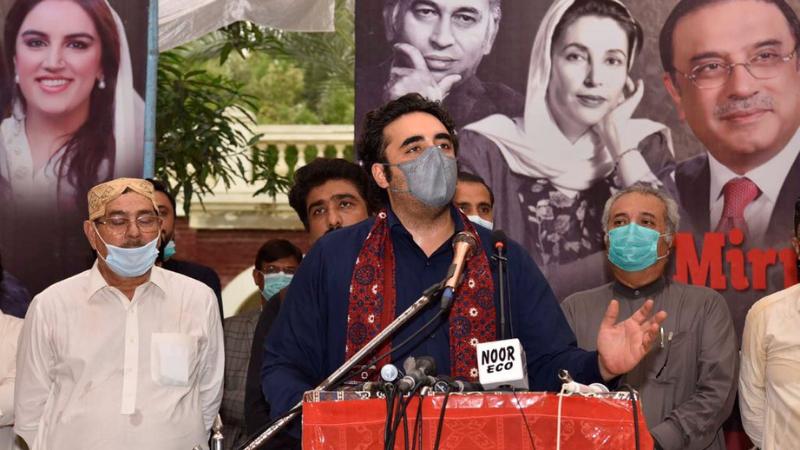 PPP chairman Bilawal Bhutto-Zardari addressing a gathering in Mirpurkhas. — Photo courtesy: PPP Twitter