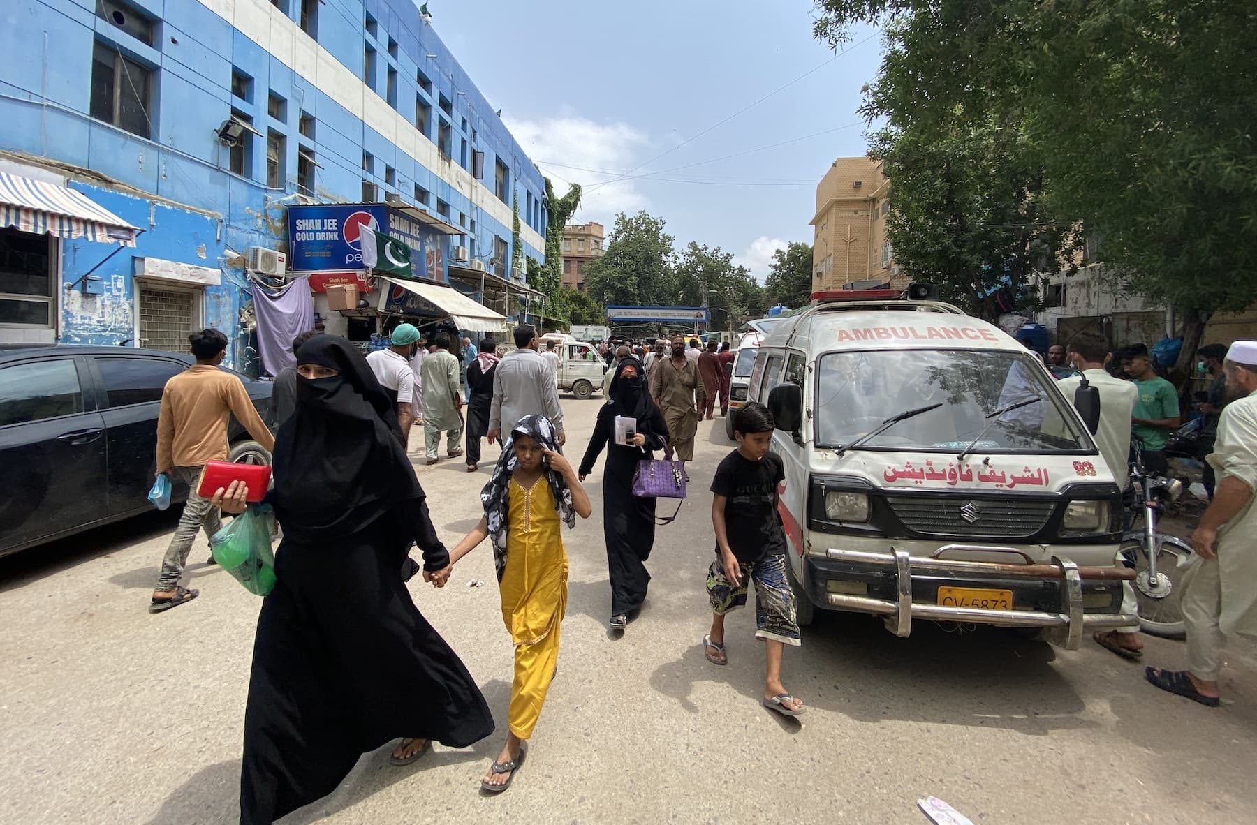 Patients and attendants inside the Dr Ruth Pfau Civil Hospital. Medical staff complains that the area around the Dr Ruth Pfau Hospital is very congested and overcrowded. — Photo by Rabia Bugti