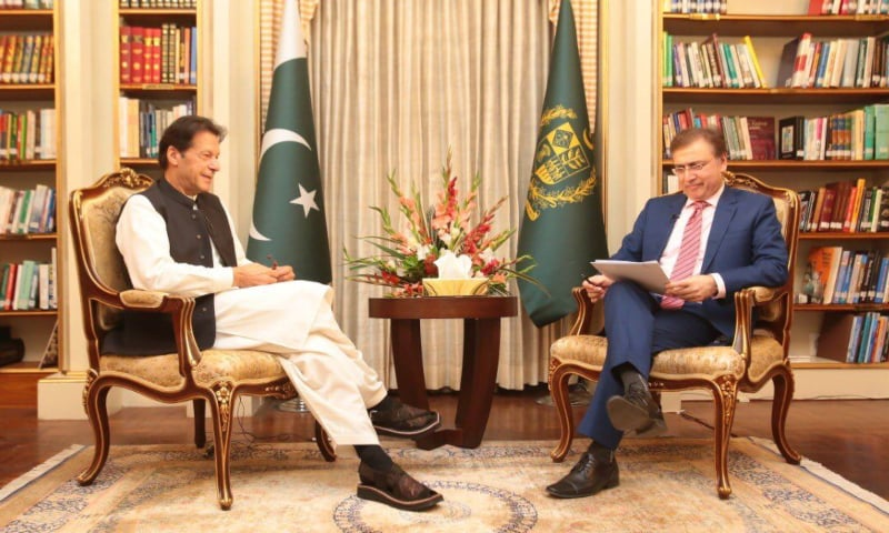Prime Minister Imran Khan in an interview with Moeed Pirzada. — Photo courtesy Mooed Pirzada Twitter