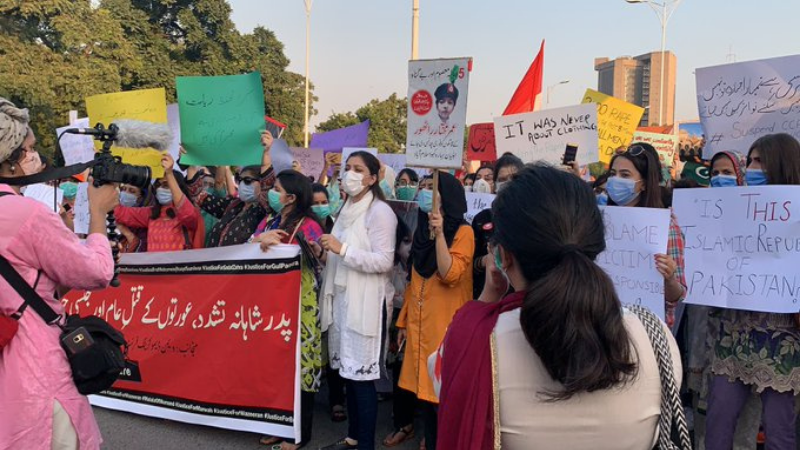 Protesters gather at the National Press Club in Islamabad on Sept 13 to demand justice for the gang-rape victim. — Photo courtesy Aurat March Islamabad Twitter
