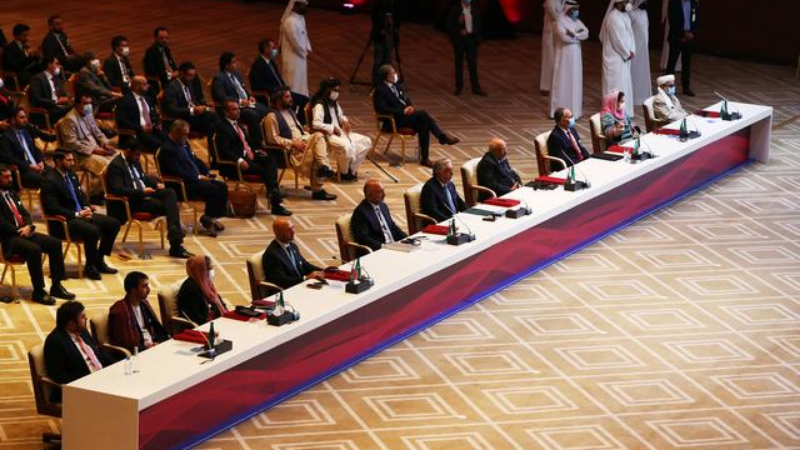 Delegates are seen before talks between the Afghan government and Taliban insurgents in Doha, Qatar September 12, 2020. — Reuters