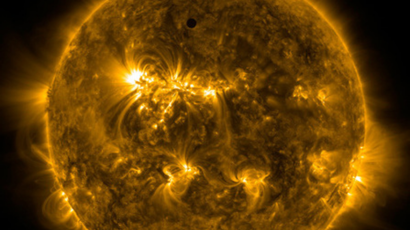 Handout image courtesy of NASA shows the planet Venus transiting the Sun, June 5, 2012. One of the rarest astronomical events occurs on Tuesday and Wednesday when Venus passes directly between the sun and Earth, a transit that won't occur again until 2117. — Photo by NASA/Reuters/ File