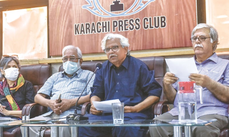 PFF head Mohammad Ali Shah speaks at the presser at the KPC on Tuesday.—White Star
