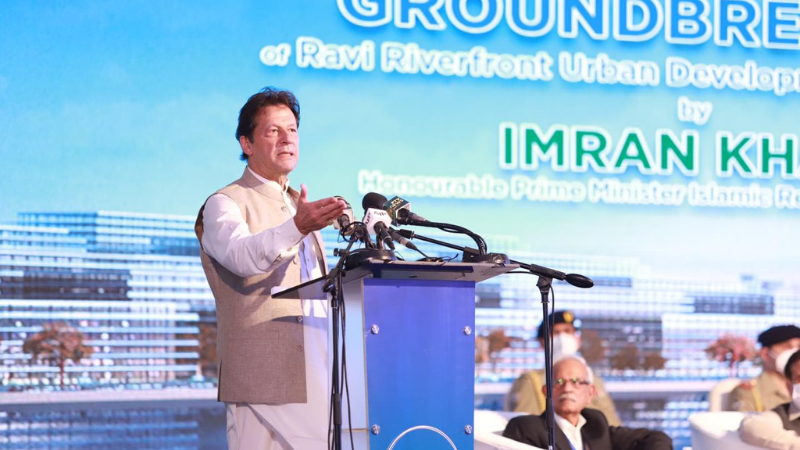 Prime Minister Imran Khan addressing the groundbreaking ceremony of the Ravi Riverfront Urban Project. — PID