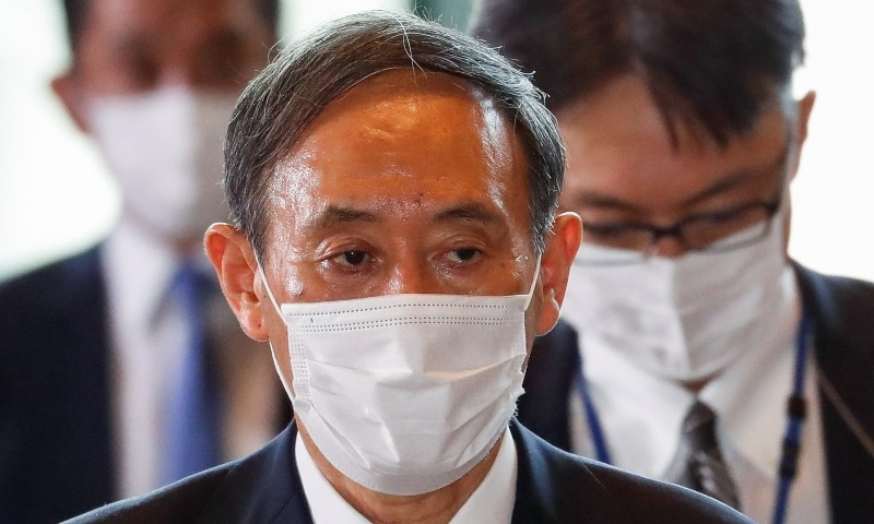 Japan's newly-elected Prime Minister Yoshihide Suga arrives at his official residence in Tokyo on September 16. — Reuters
