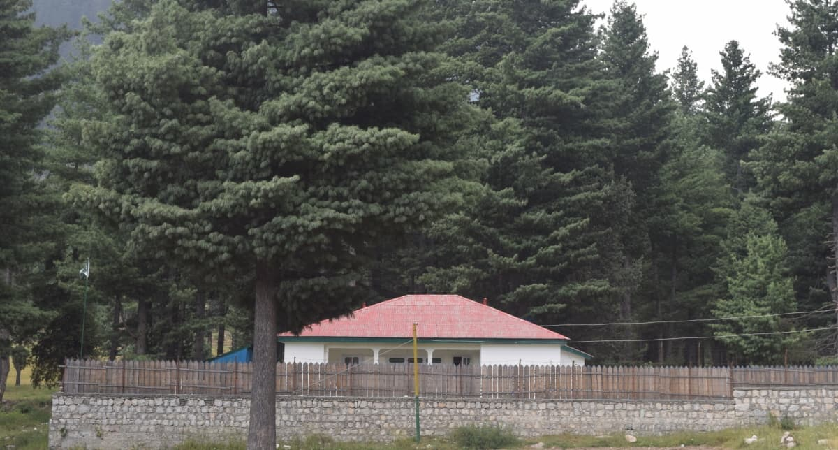 A view of the forest rest house at Kumrat.
