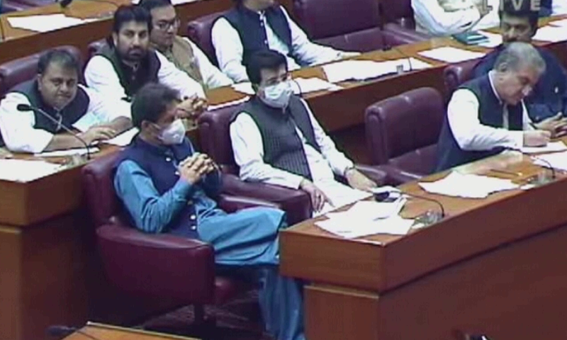 Prime Minister Imran Khan was also in attendance at the joint session which was chaired by National Assembly Speaker Asad Qaiser. — DawnNewsTV/File