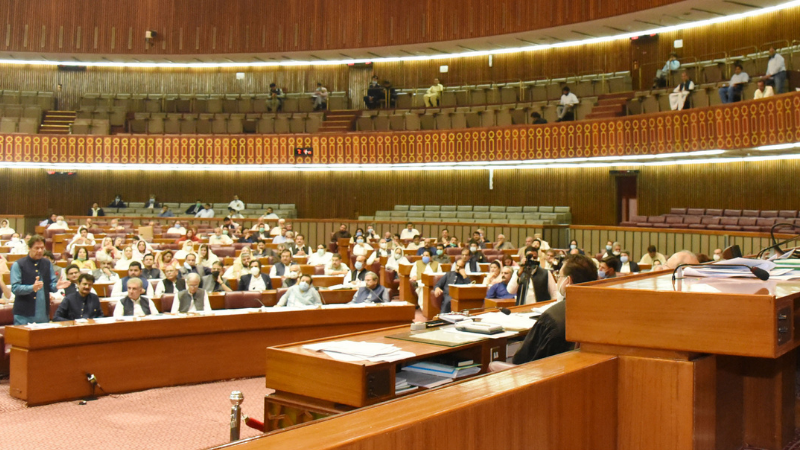 ISLAMABAD: National Assembly Speaker Asad Qaiser presiding over the joint session of parliament while Prime Minister Imran Khan making the speech. — PID