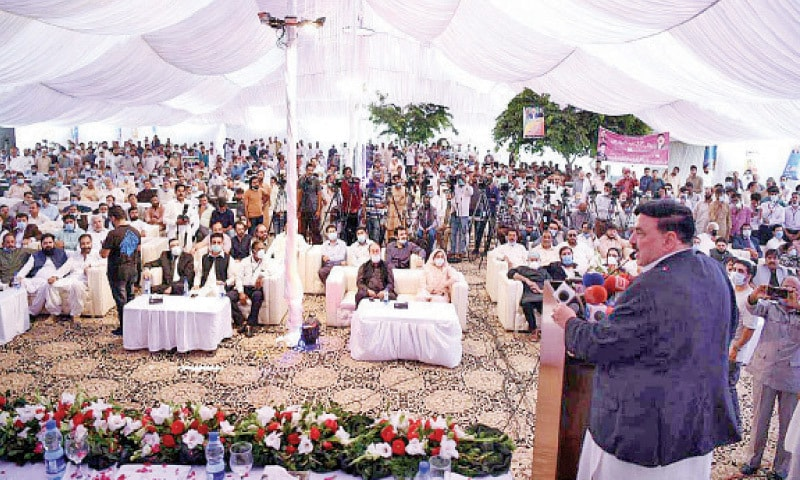 Railways Minister Sheikh Rashid Ahmed addresses the inauguration ceremony of a project to upgrade the Railway General Hospital on Thursday. — APP