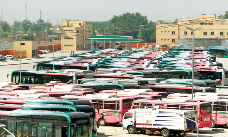 Buses parked at Chamkani terminal, Peshawar, on Thursday after suspension of BRT service. — White Star