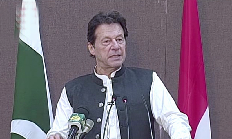 Prime Minister Imran Khan speaking at the inaugurating ceremony for the Pak-Austria Fachhochschule Institute of Applied Sciences and Technology in Haripur on Thursday. — DawnNewsTV