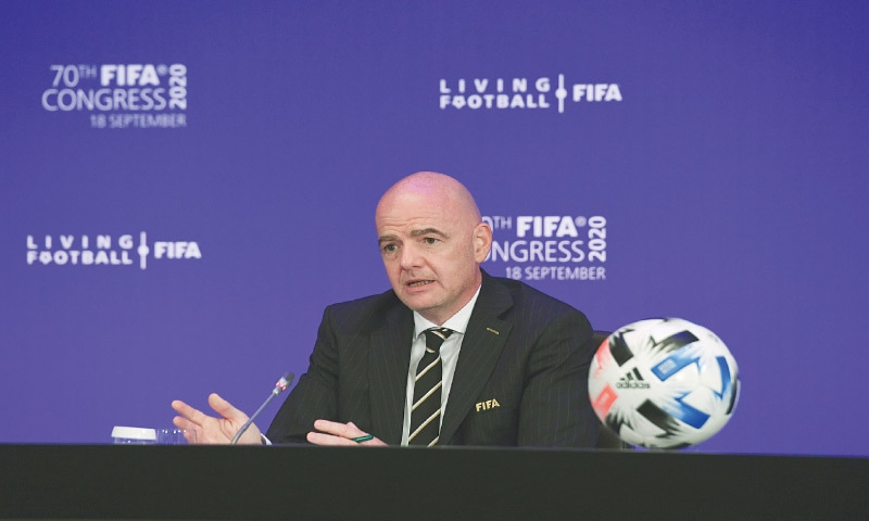 ZURICH: FIFA president Gianni Infantino gestures during an online press conference following the FIFA Congress on Friday.—courtesy FIFA