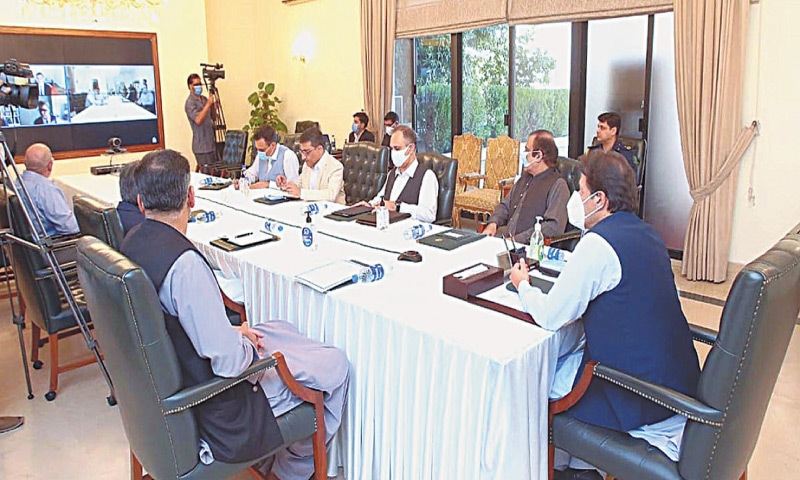 ISLAMABAD: Prime Minister Imran Khan chairing a meeting regarding reforms in the power sector.—APP